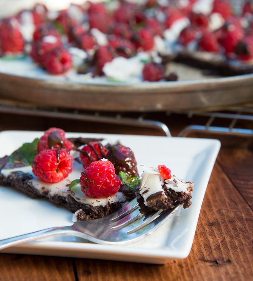 Decadent Chocolate Raspberry Dessert Pizza. Paleo, Gluten Free and So Delicious! www.healthnutnation.com