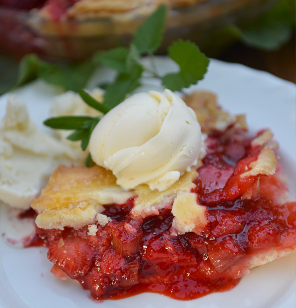 Usher in the bounty of summer with a glorious strawberry rhubarb pie. Gluten and dairy free.
