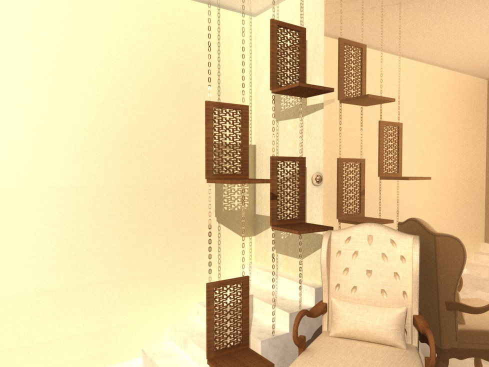 wood carved hanging shelves with chains