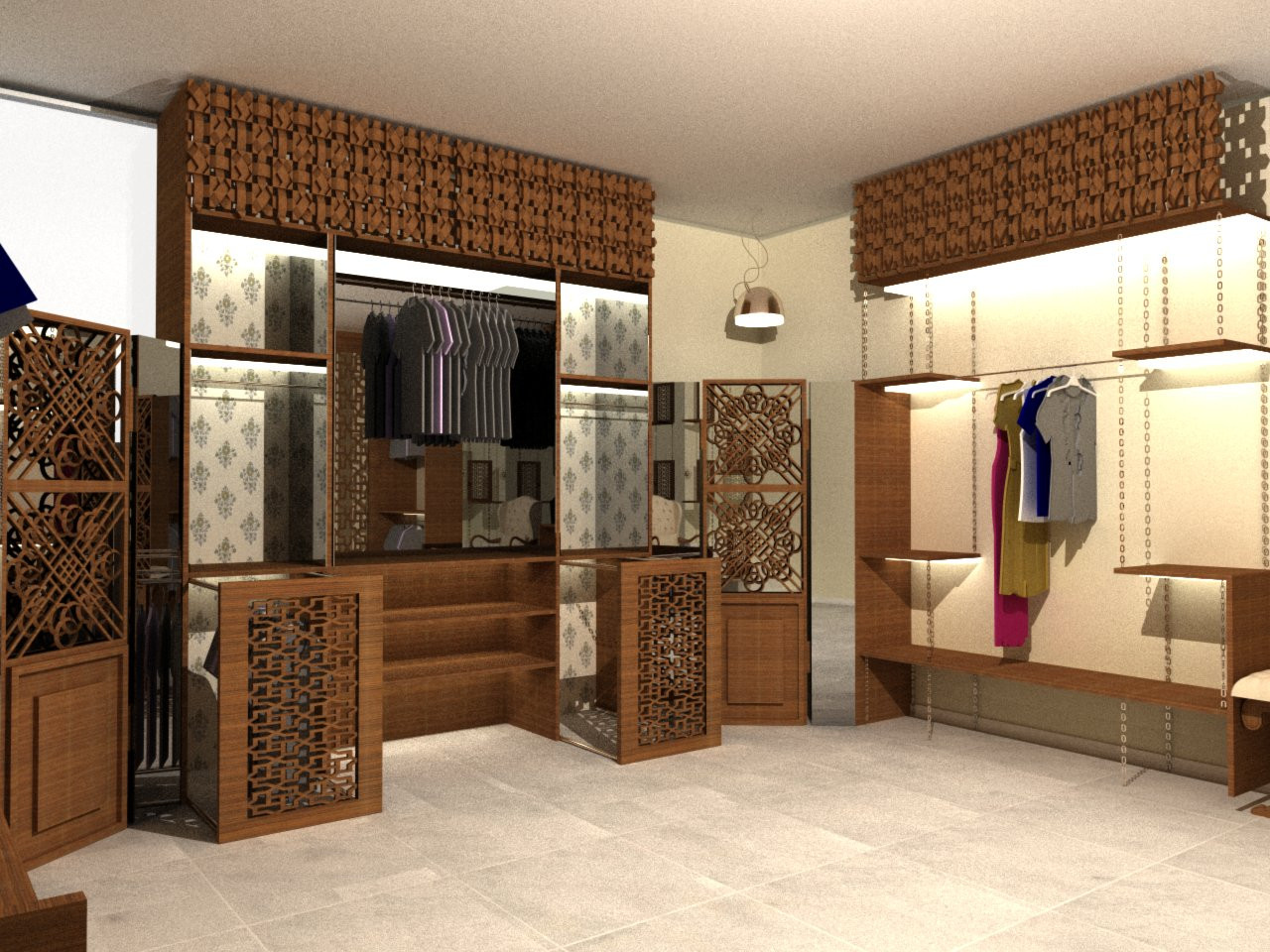 Wardrobe dislay with wood carving