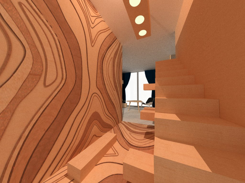 central library inspired by tree bark
