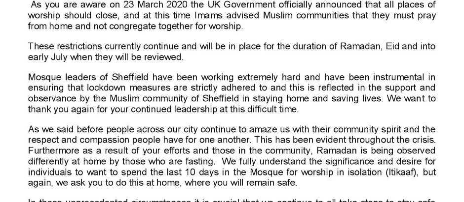 Sheffield City Council Letter on Ramadan and Eid