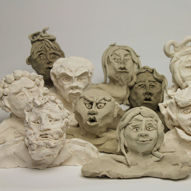 Clay models for Under Milk Wood project