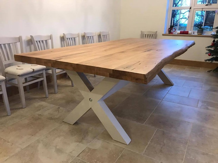 Oak Table with Painted Wooden X Frame Base