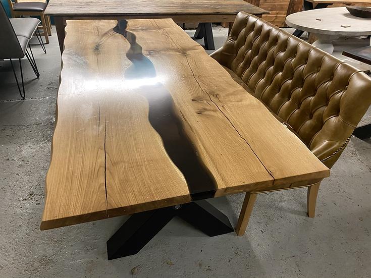 230 x 100 cm Oak Resin Middle Table