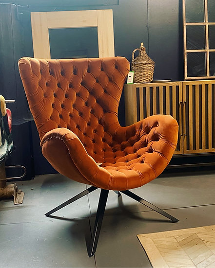 Burnt Orange Curved Button Chair