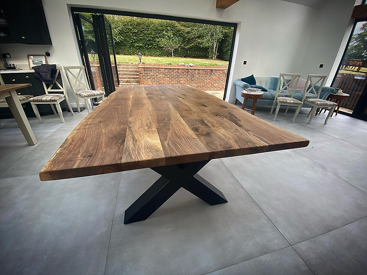 Walnut Dining Table with X frame Metal Base