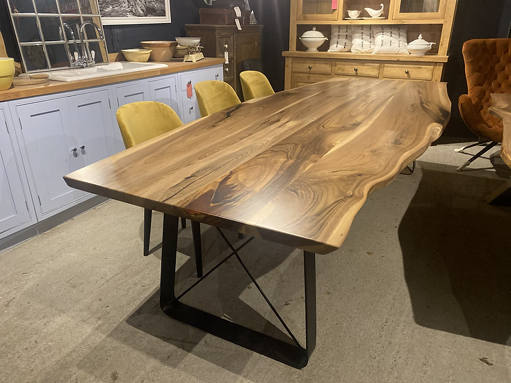 300 x 120 cm walnut waney edge dining table