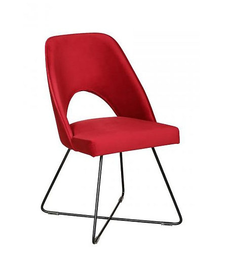 Abe Velvet Chair with metal base