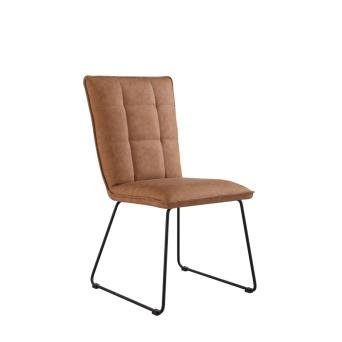 Square Panel Back PU Leather Chair (TAN)