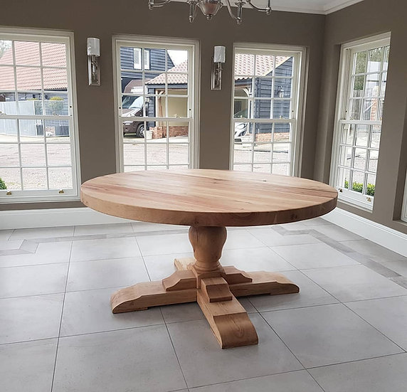Round Oak Table with Pear Bulb Base