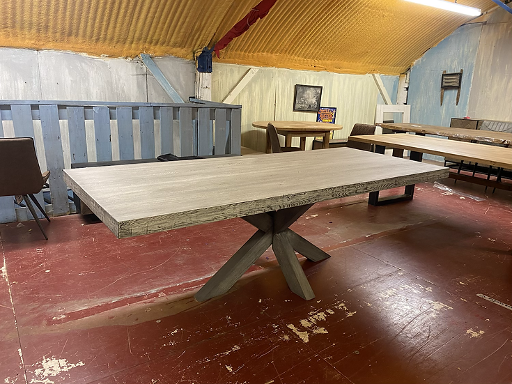 240 x 100 cm silver fox table with oak spider base