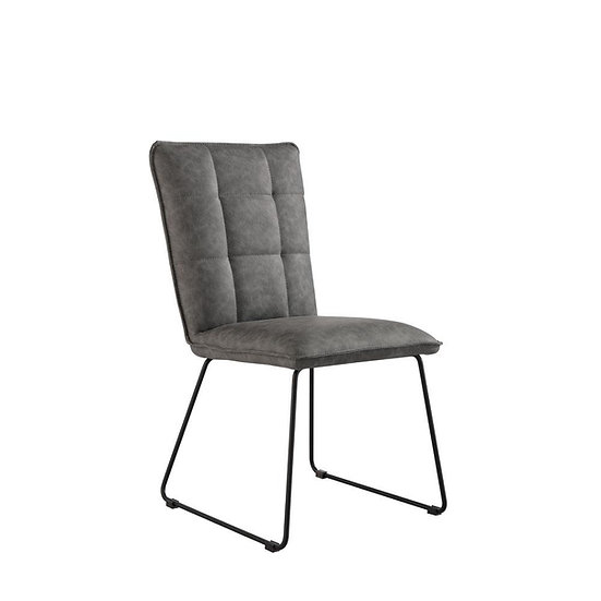 Square Panel Back PU Leather Chair (GREY)