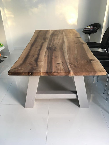 Walnut Dining Table with Painted A frame Base
