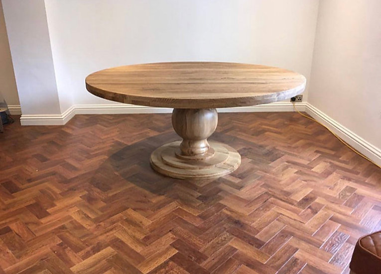 Round Oak Table with 'Big Bulb Base'
