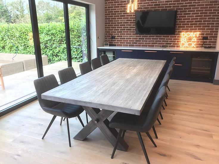 Silver Fox Oak Table with X Frame Metal Base