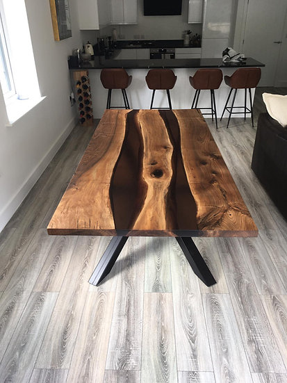 Walnut Double Resin River Table