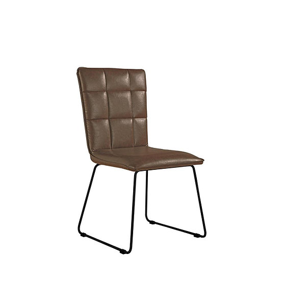 Square Panel Back PU Leather Chair (BROWN)