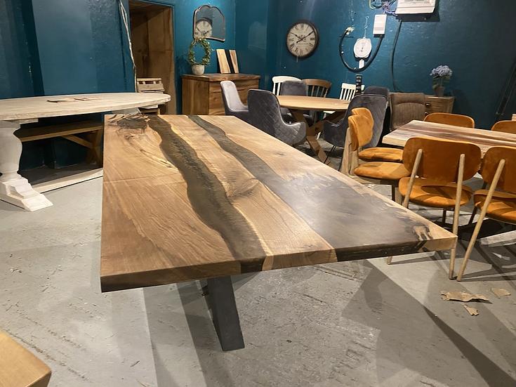 240 x 100 cm double resin walnut dining table