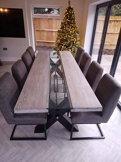 Grey Oak Glass Middle Table