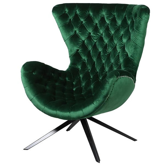 Emerald Green Curved Button Chair