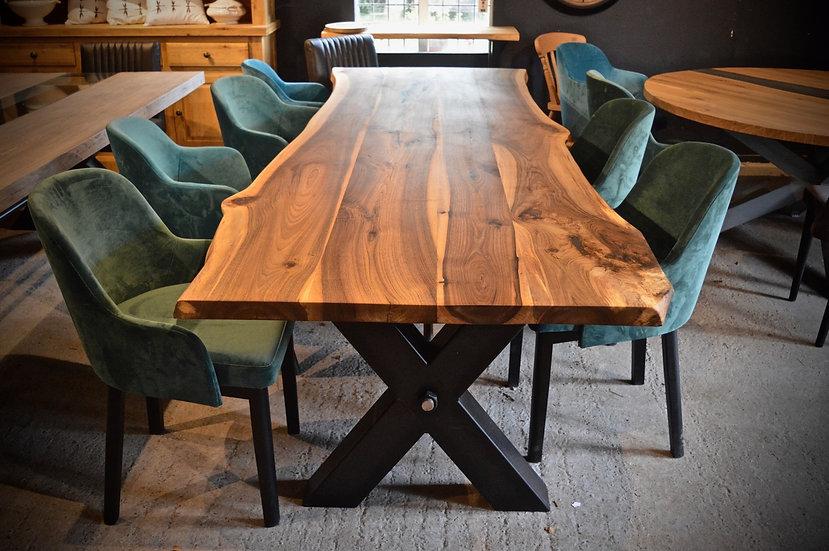 300 x 100 cm walnut waney edge dining table