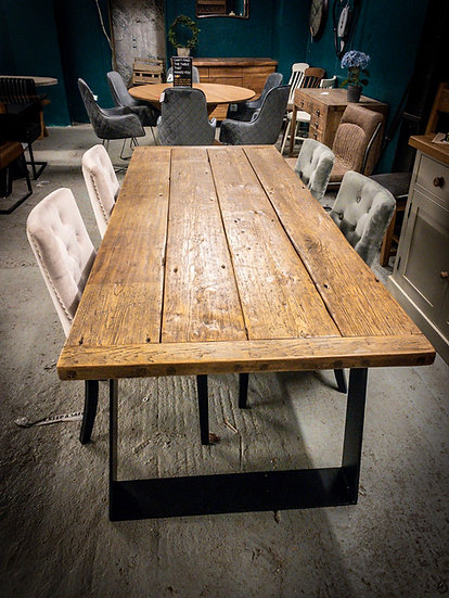 100 year old pine table with metal base