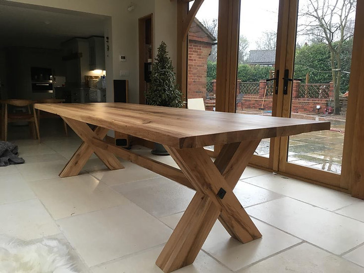 Oak Table with Oak X Frame Base