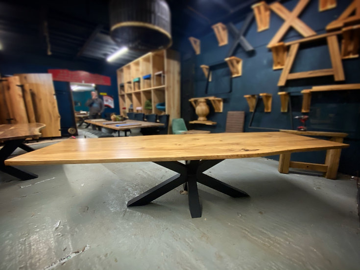 300 x 100 cm Double Slab Oak Dining Table