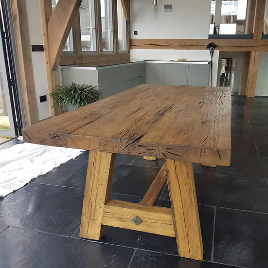 Oak Table with Oak A Frame Base