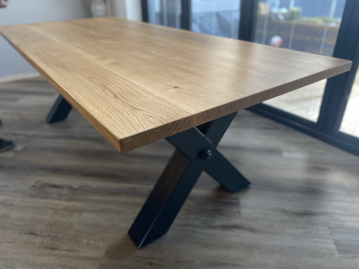 Clean Oak Table with X frame Metal Base (Fast track 3-4 weeks)