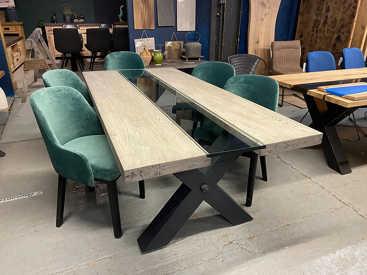 220 x 100 silver fox glass middle table