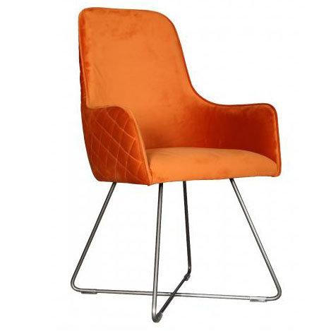 Manhattan Velvet Chair with metal base