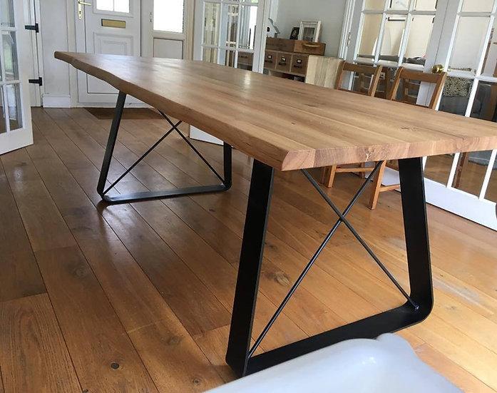 Oak Table with Minimal Steel Base