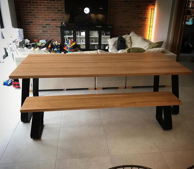 Oak Table with Rounded U Frame