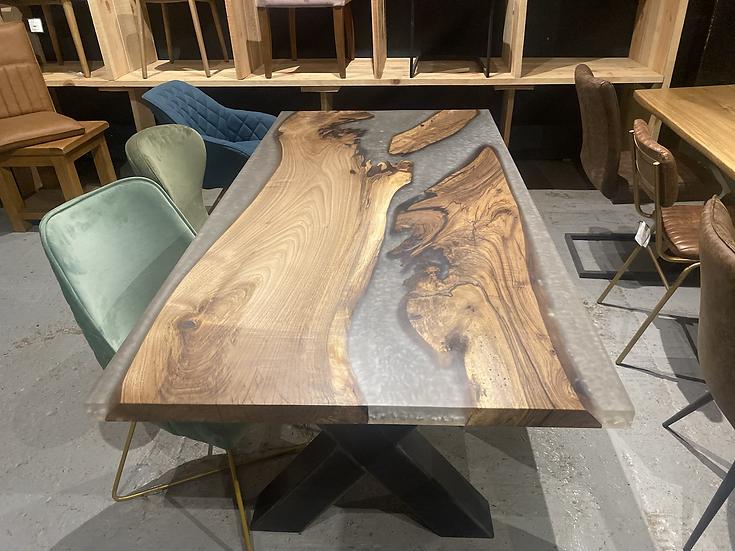180 x 90 cm grey resin walnut dining table
