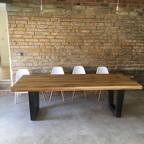 Oak Table with Angled U Frame Metal Base