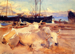 1908 Oxen on the Beach at Baia watercolour on paper 25.4 x 35.6 cm Private Colle