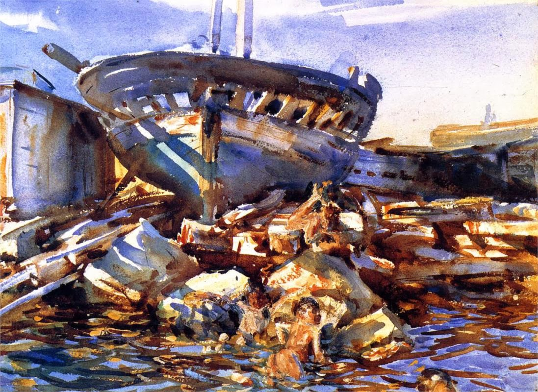 1908 Flotsam and Jetsam watercolour on paper 34.6 x 47.3 cm Portland Museum of A