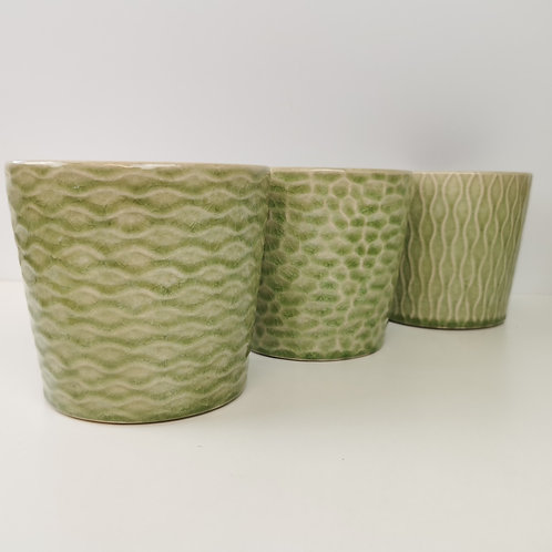 Light Green Patterned Glazed Ceramic Planter