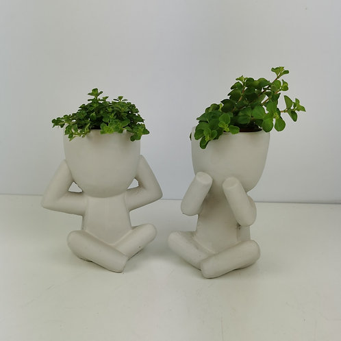 White Figurine Concrete Planter