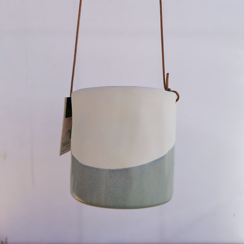 Hanging Half Dip Half Glazed Ceramic Planter