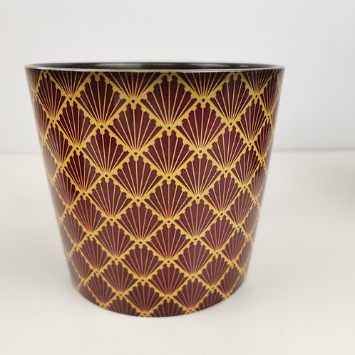 Red Art Deco Ceramic Planter