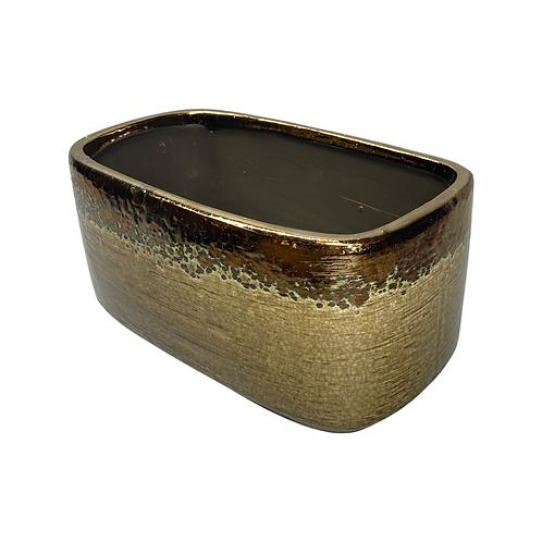 Molten Rustic Trough Gold rectangular ceramic planter - 4 colour options ed
