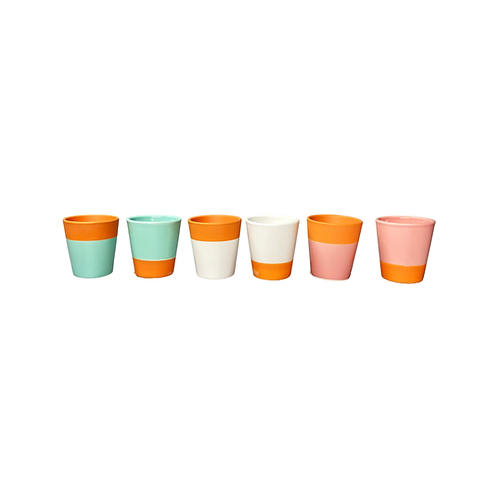 Terracotta ceramic glazed mini planters - opposites available in three colours