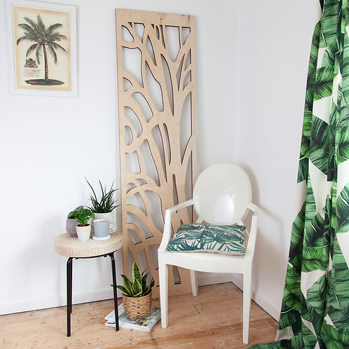Plywood Botanical Laser Cut Screen