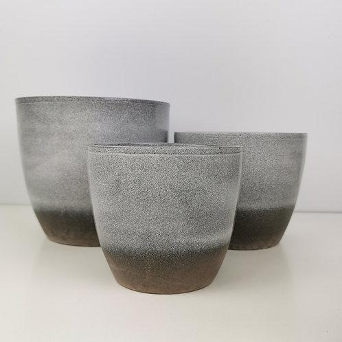 Semi Glazed Moon Grey Ceramic Planter