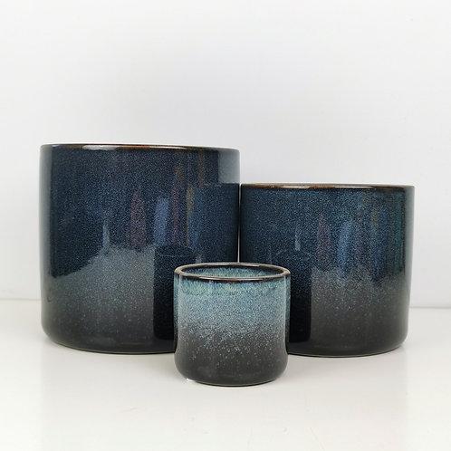 Blue Melange Gloss Glazed Ceramic Planters