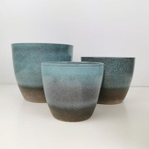 Semi Glazed Ocean Blue Ceramic Planter