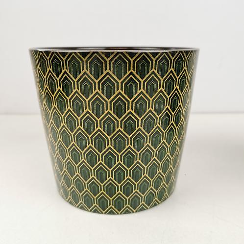 Green Art Deco Ceramic Planter